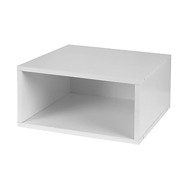 Niche Cubo Half Size Stackable Storage Cube- White Wood Grain (PC1206WH)