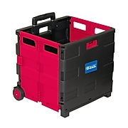 """BAZIC 17.72""""H x 17.24""""W Assorted Materials Folding Cart on Wheels with Lid Cover, Red/Black (BAZ2199)"""