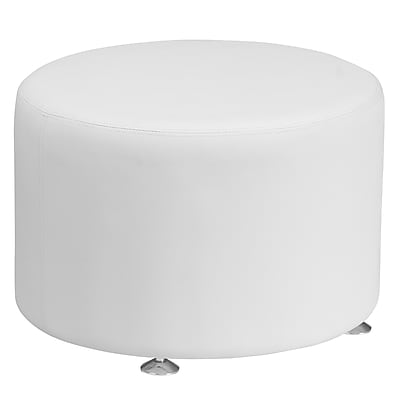HERCULES Alon Series Leather 24'' Round Ottoman (ZB803RD24WH)