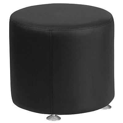 HERCULES Alon Series Leather 18'' Round Ottoman (ZB803RD18BK)