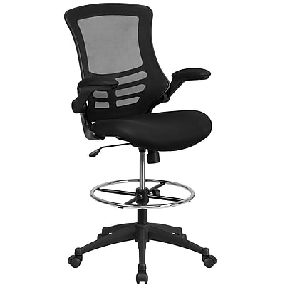 Mid-Back Mesh Drafting Chair with Adjustable Foot Ring and Flip-Up Arms (BLX5MD)