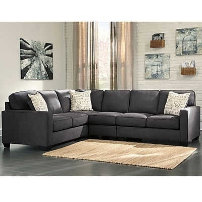 Signature Design by Ashley Alenya 3-Piece LAF Sofa Sectional in Microfiber (1669SEC3LAFSCH)