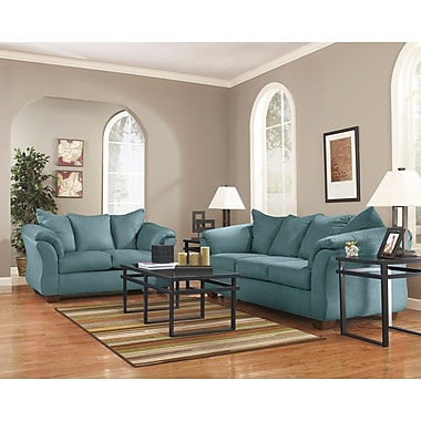 Signature Design by Ashley Darcy Living Room Set in Microfiber (1109SETSKY)