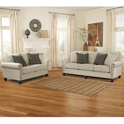 Signature Design by Ashley Milari Living Room Set in Linen (1309SETLIN)