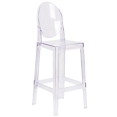 Ghost Barstool in Transparent Crystal with Oval Back (OWGHOSTBACK29)