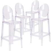 4  Pack. Ghost Barstool in Transparent Crystal with Oval Back (4OWGHOSTBACK29)