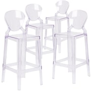 4  Pack. Ghost Barstool in Transparent Crystal with Tear Back (4OWTEARBACK29)