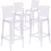 4  Pack. Ghost Barstool in Transparent Crystal with Square Back (4OWSQUAREBACK29)