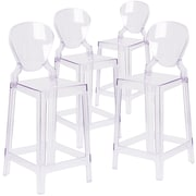 4  Pack. Ghost Counter Stool in Transparent Crystal with Tear Back (4OWTEARBACK24)