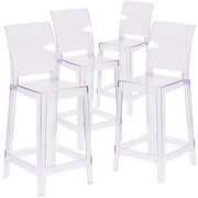 4  Pack. Ghost Counter Stool in Transparent Crystal with Square Back (4OWSQUAREBACK24)