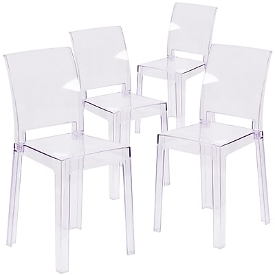 4 Pack. Ghost Chair with Square Back (4OWSQUAREBACK18)