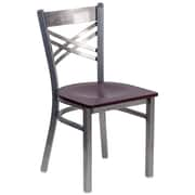 HERCULES Series Clear Coated ''X'' Back Metal Restaurant Chair (XU6FOBCLMAHW)