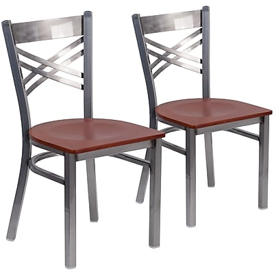 2 Pack. HERCULES Series Clear Coated ''X'' Back Metal Restaurant Chair (2XU6FOBCLCHYW)
