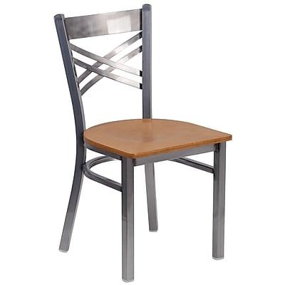HERCULES Series Clear Coated ''X'' Back Metal Restaurant Chair (XU6FOBCLNATW)