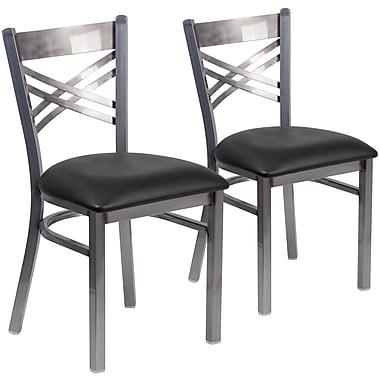 2 Pack. HERCULES Series Clear Coated ''X'' Back Metal Restaurant Chair (2XU6FOBCLBLKV)