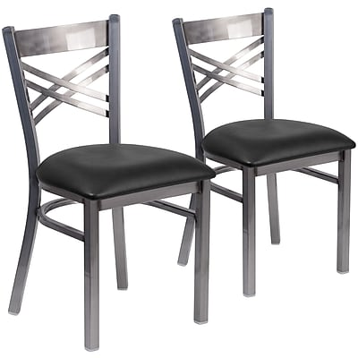 2 Pack. HERCULES Series Clear Coated ''X'' Back Metal Restaurant Chair (2XU6FOBCLBLKV)