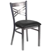 HERCULES Series Clear Coated ''X'' Back Metal Restaurant Chair (XU6FOBCLBLKV)