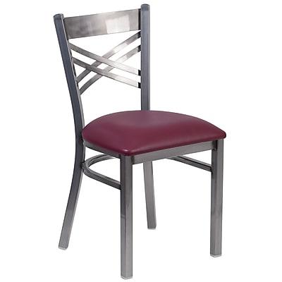 HERCULES Series Clear Coated ''X'' Back Metal Restaurant Chair (XU6FOBCLBURV)