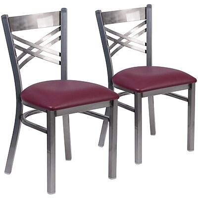 2 Pack. HERCULES Series Clear Coated ''X'' Back Metal Restaurant Chair (2XU6FOBCLBURV)