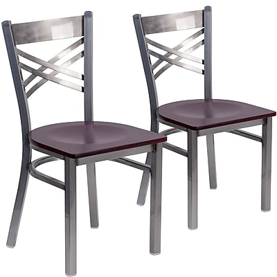 2 Pack. HERCULES Series Clear Coated ''X'' Back Metal Restaurant Chair (2XU6FOBCLMAHW)