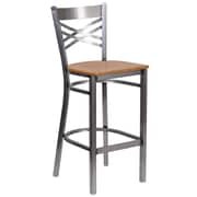 HERCULES Series Clear Coated ''X'' Back Metal Restaurant Barstool (XU6F8BCLBARNATW)