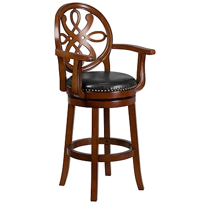 30'' High Wood Barstool with Arms and Leather Swivel Seat (TA550230BDY)