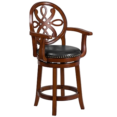 26'' High Wood Counter Height Stool with Arms and Leather Swivel Seat (TA550226BDY)