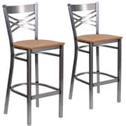 HERCULES Series Clear Coated ''X'' Back Metal Restaurant Barstool  2 Pack(2XU6F8BCLBNATW)