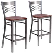 HERCULES Series Clear Coated ''X'' Back Metal Restaurant Barstool 2 Pack (2XU6F8BCLBCHYW)