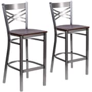 HERCULES Series Clear Coated ''X'' Back Metal Restaurant Barstool 2 Pack (2XU6F8BCLBWALW)