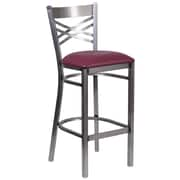 HERCULES Series Clear Coated ''X'' Back Metal Restaurant Barstool (XU6F8BCLBARBURV)