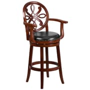 30'' High Wood Barstool with Arms and Leather Swivel Seat (TA550230CHY)