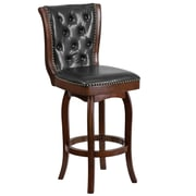 30'' High Wood Barstool with Leather Swivel Seat (TA240130CA)