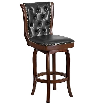 30'' High Wood Barstool with Leather Swivel Seat (TA240130CA)