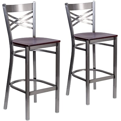 HERCULES Series Clear Coated ''X'' Back Metal Restaurant Barstool 2 Pack (2XU6F8BCLBMAHW)