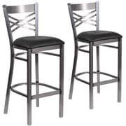 HERCULES Series Clear Coated ''X'' Back Metal Restaurant Barstool 2 Pack (2XU6F8BCLBBLKV)
