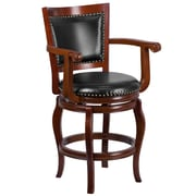 26'' High Wood Counter Height Stool with Leather Swivel Seat (TA212524CHY)