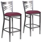HERCULES Series Clear Coated ''X'' Back Metal Restaurant Barstool 2 Pack (2XU6F8BCLBBURV)