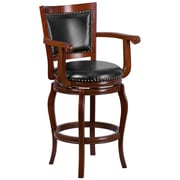 30'' High Wood Barstool with Leather Swivel Seat (TA21259CHY)