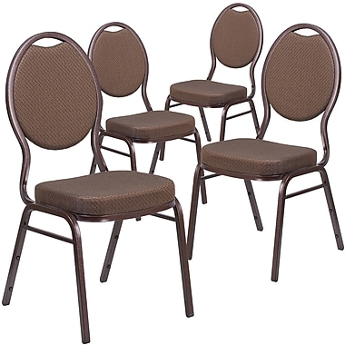 HERCULES Series Teardrop Back Stacking Banquet Chair with Patterned Fabric 4 Pack (4FDC04CPR08T02)