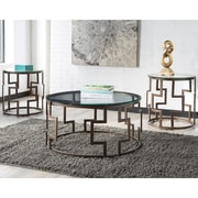 Signature Design by Ashley Frostine 3 Piece Occasional Table Set, Dark Bronze (TS310DB)