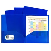 """C-Line, Blue Two Pocket Poly Portfolios Without Prongs Pack of 10, 8.5"""" x 11"""" paper size (CLI32955)"""