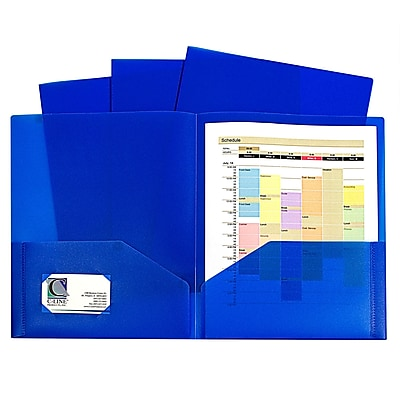 C-Line, Blue Two Pocket Poly Portfolios Without Prongs Pack of 10, 8.5