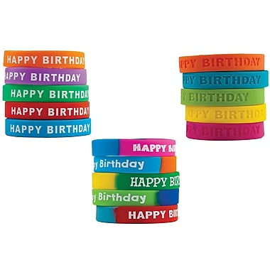 Happy Birthday Wristband Class Pack, Assorted 30/set (TCR9804)