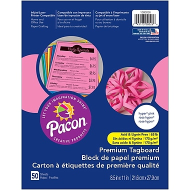 Pacon, Premium Tagboard Hyper Pink, 8.5