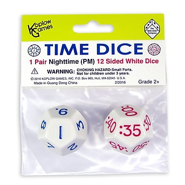 Koplow Time Dice Pair of White PM, 2/set (KOP18844)