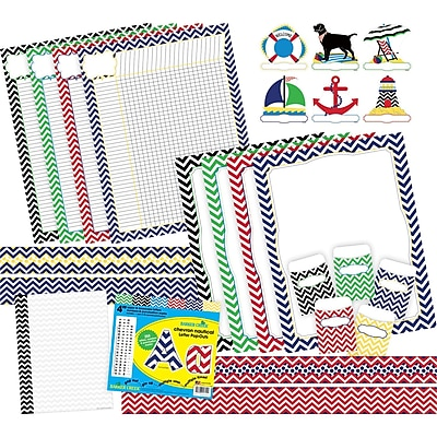 """Curated Collection Nautical Chevron 403/set, Assorted Shapes, 22"""" x 18"""" (BCP3526)"""