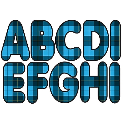 Ashley 2.75 Blue Plaid Designer Magnetic Letters (ASH17024)