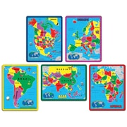 A Broader View Continent Puzzle Combo Pack, Assorted Colors, 5 Puzzles 171 Pieces (ABW659)