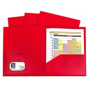 "C-Line, Red Two Pocket Poly Portfolios Without Prongs Pack of 10, 8.5"" x 11"" paper size (CLI32954)"